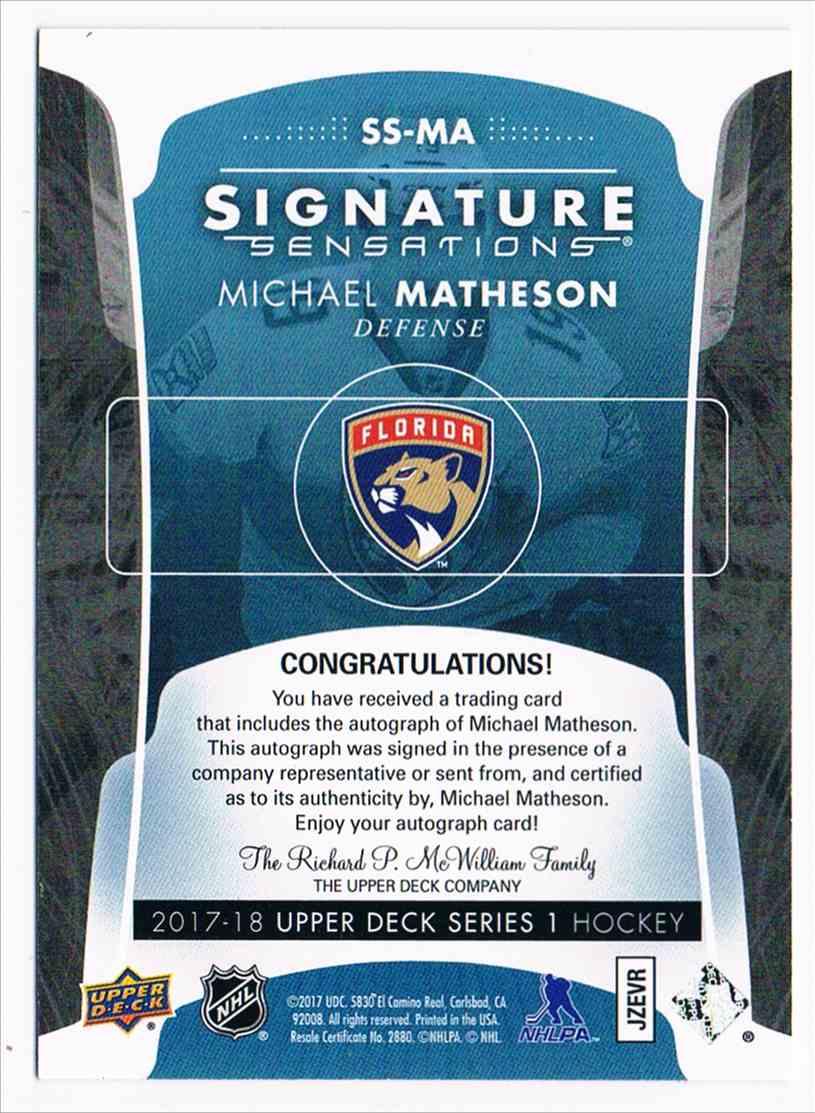 2017-18 Upper Deck Signature Sensations Michael Matheson card back image