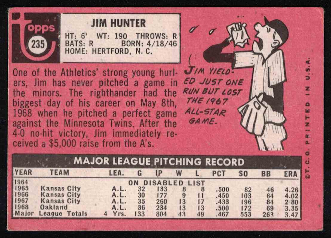 1969 Topps Jim Hunter VG crease #235 card back image