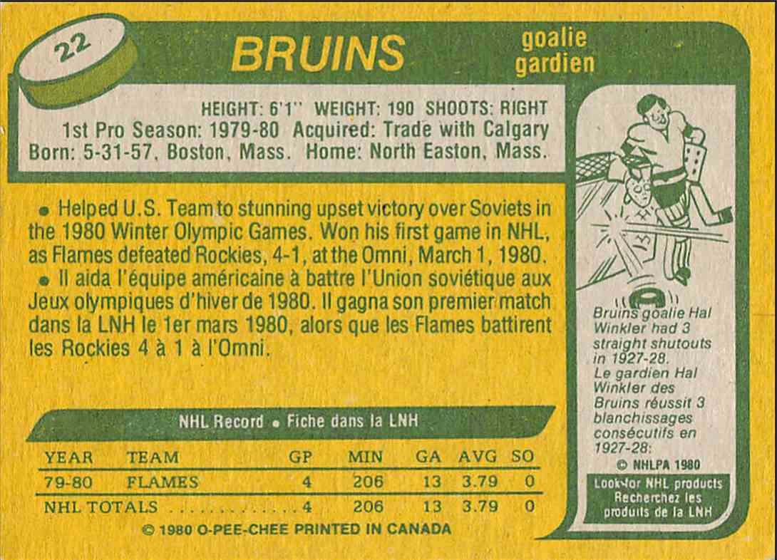 1980-81 O-Pee-Chee Jim Craig #22 card back image