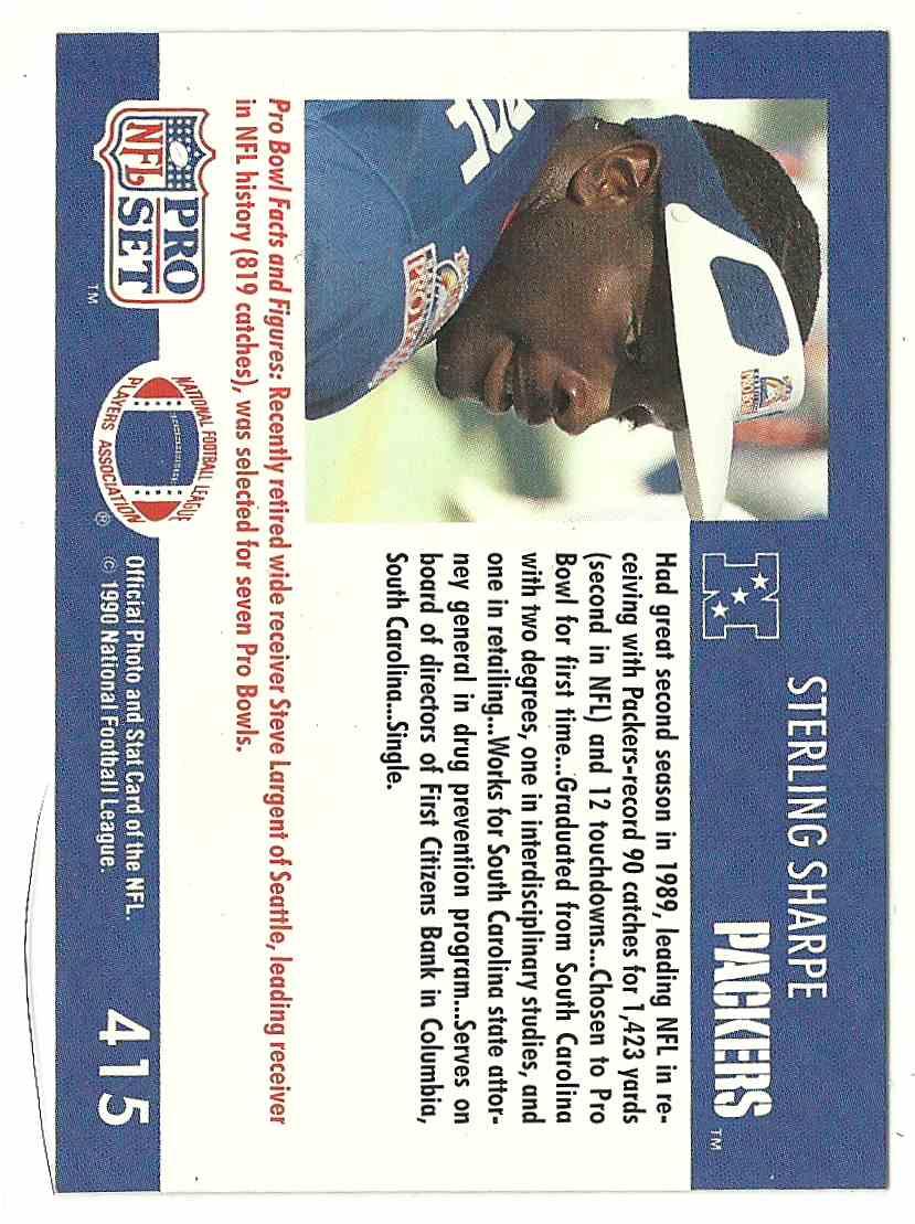 1991 Pro Set Sterling Sharpe #415 card back image