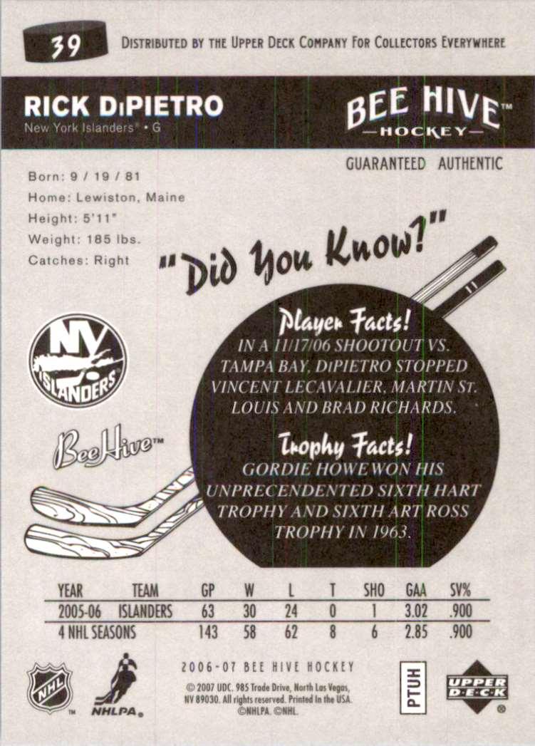 2006-07 Upper Deck Beehive Rick DiPietro #39 card back image