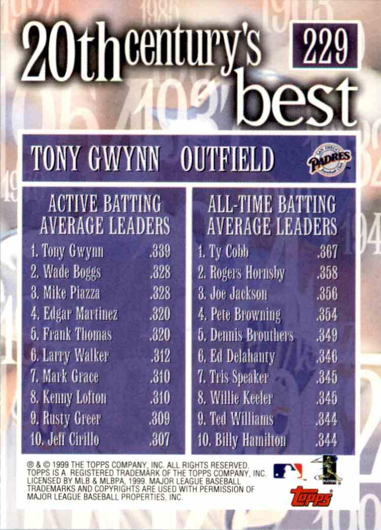 2000 Topps Average Tony Gwynn #229 card back image
