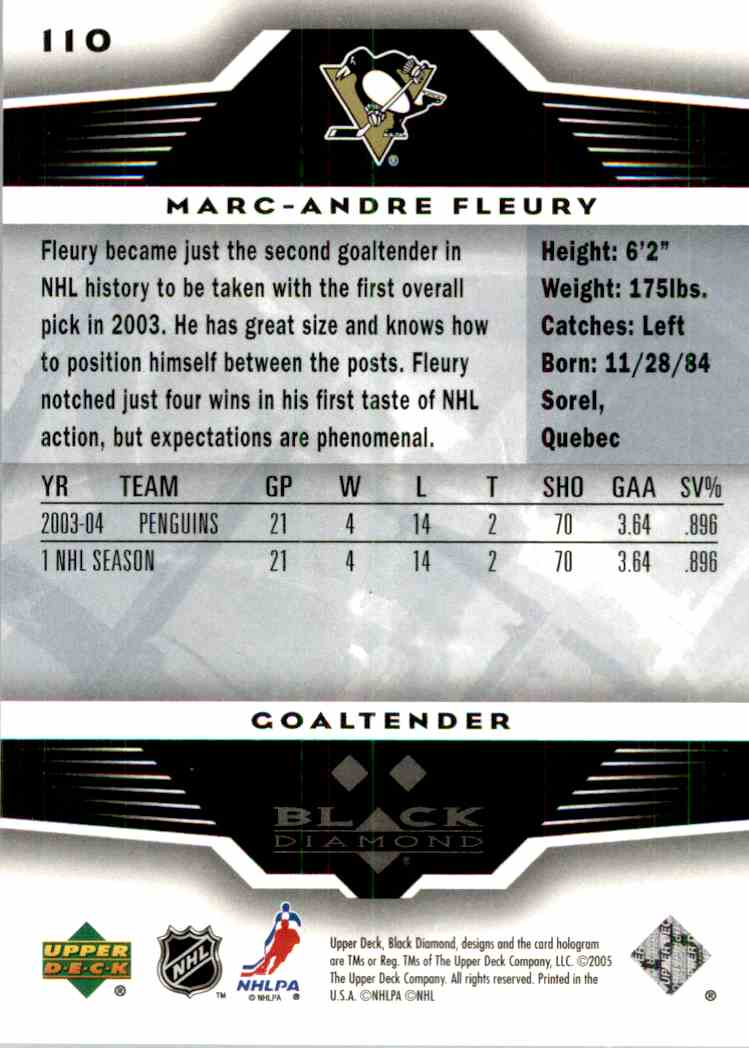2005-06 Black Diamond Marc-Andre Fleury #110 card back image