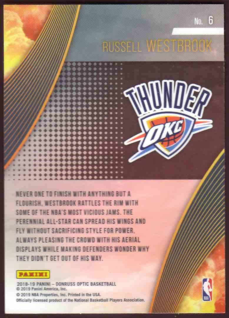 2018-19 Donruss Optic All Clear For Takeoff Russell Westbrook #6 card back image