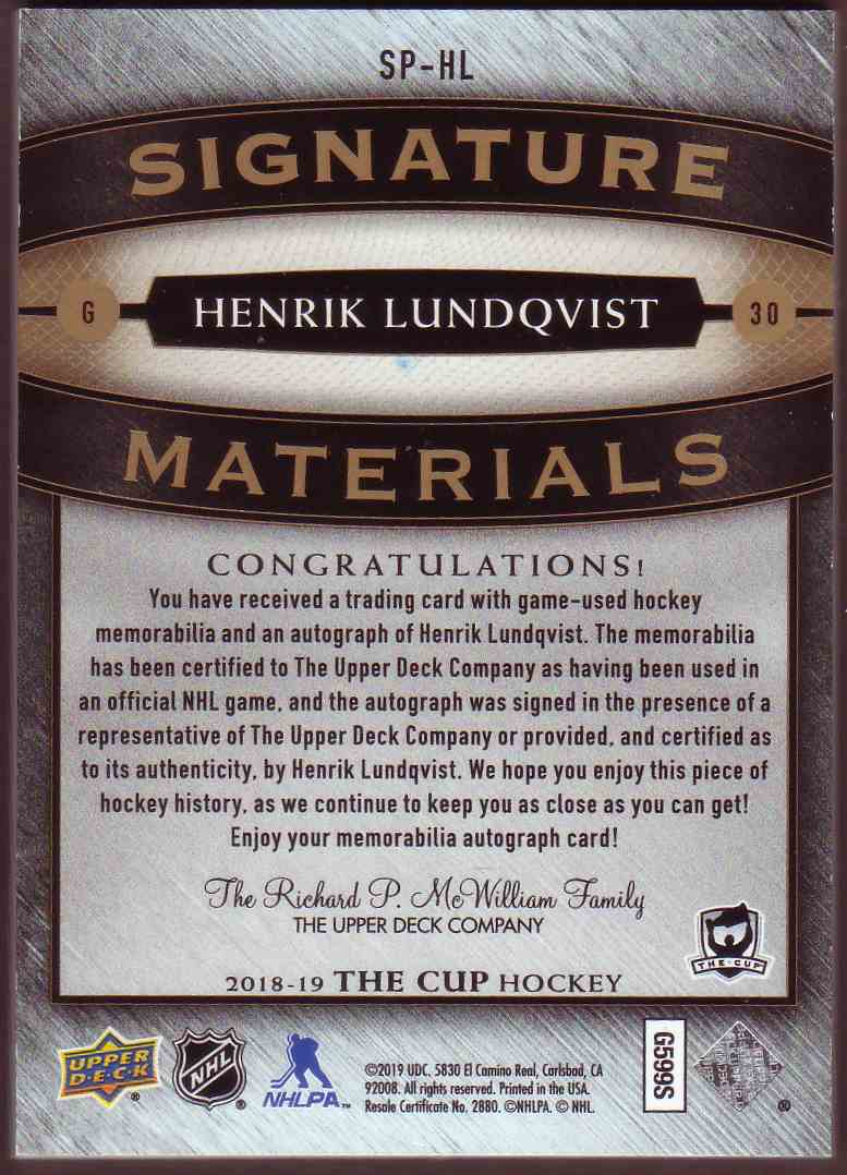 2018-19 Upper Deck The Cup Signature Materials Henrik Lundqvist #SP-HL card back image