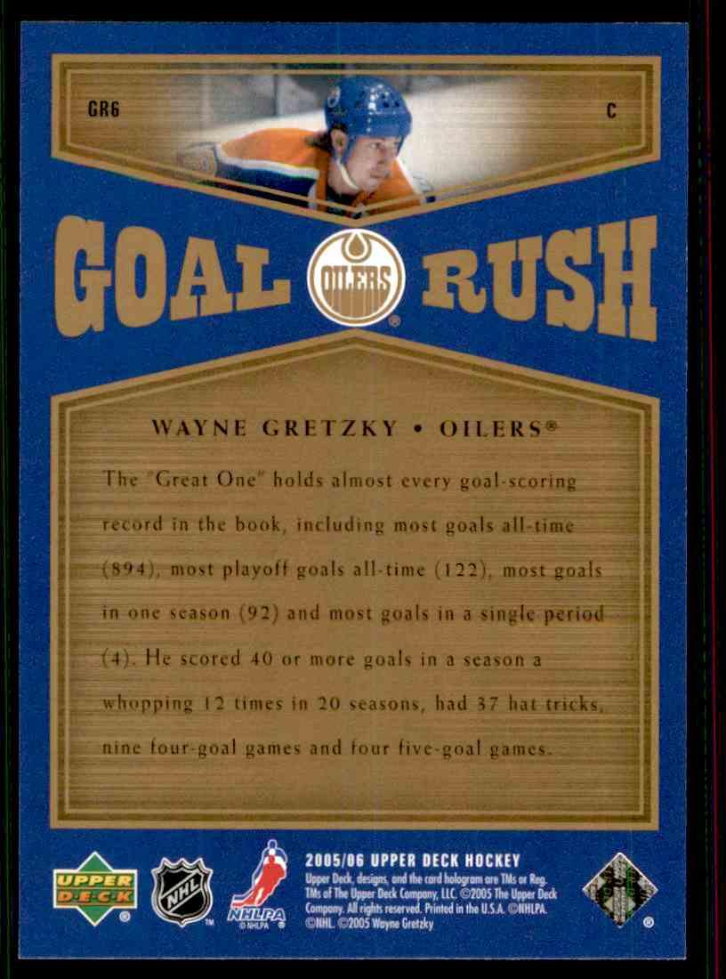 2005-06 Upper Deck Goal Rush Wayne Gretzky #CR6 card back image