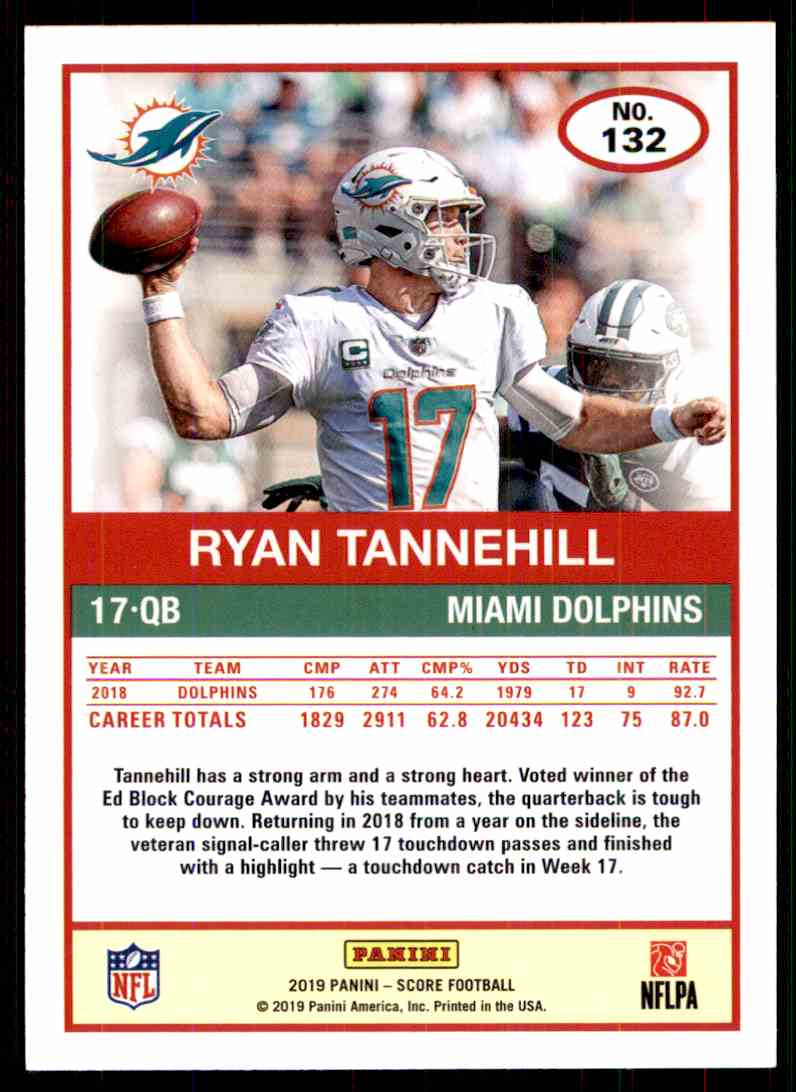 2019 Score Ryan Tannehill #132 card back image