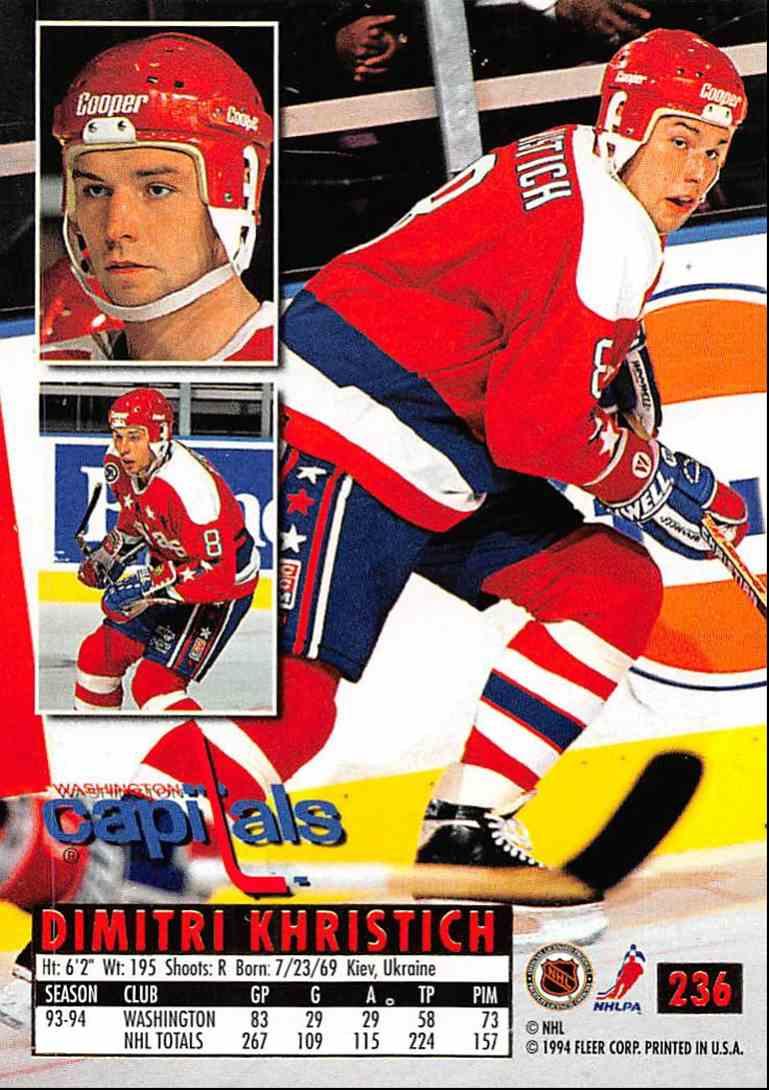 1994-95 Ultra Dimitri Khristich #236 card back image