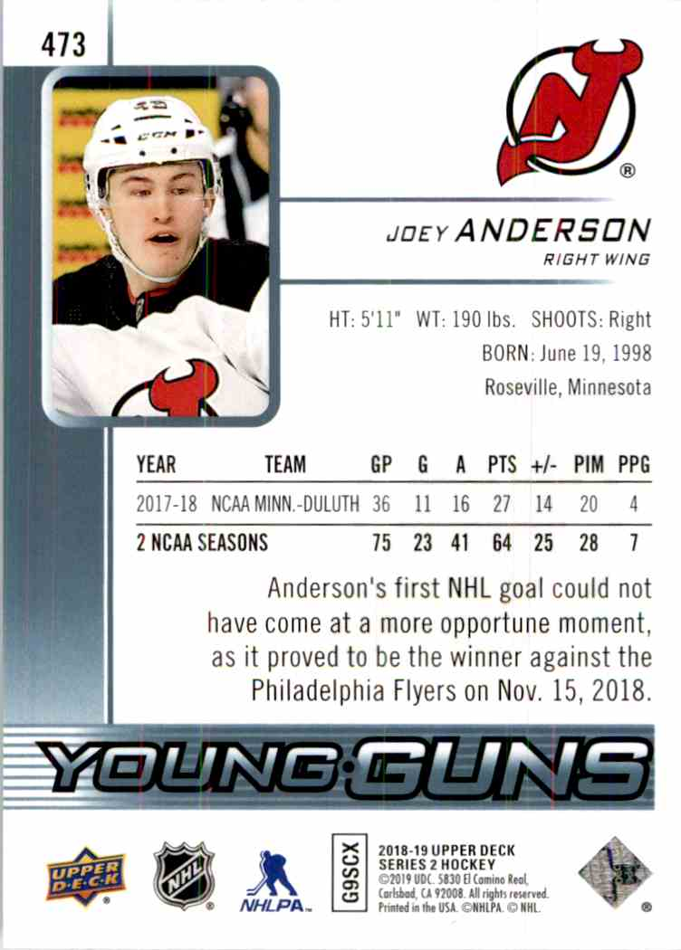 2018-19 Upper Deck Young Guns Joey Anderson #473 card back image