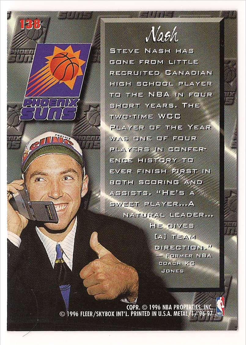 1996-97 Metal Steve Nash #138 card back image