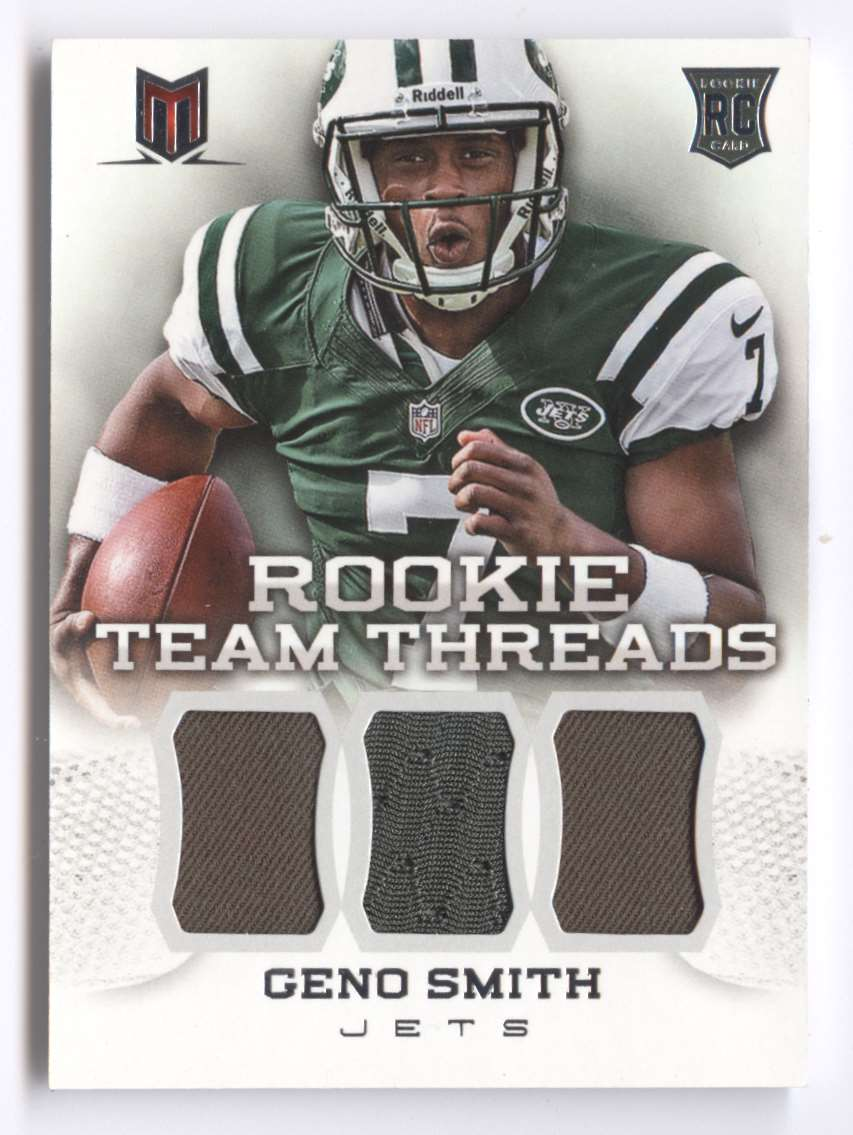 2013 Panini Momentum Rookie Team Threads Triple Materials Geno Smith #7 card front image