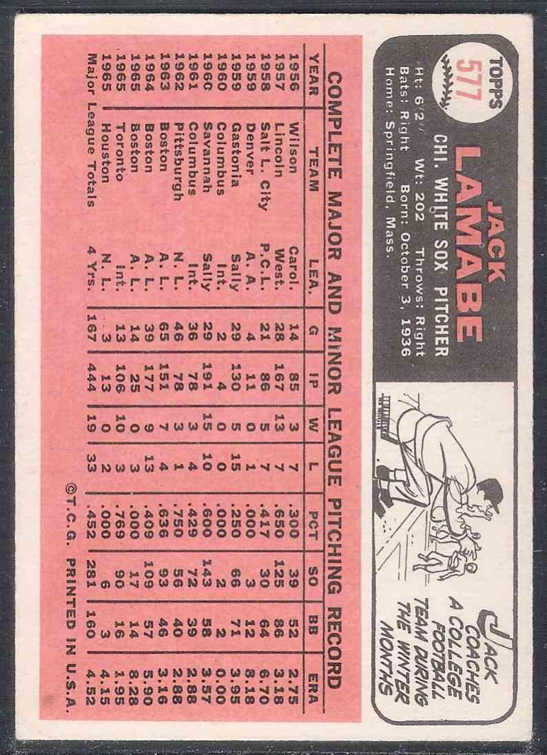 1966 Topps Jack Lamabe SP #577 card back image
