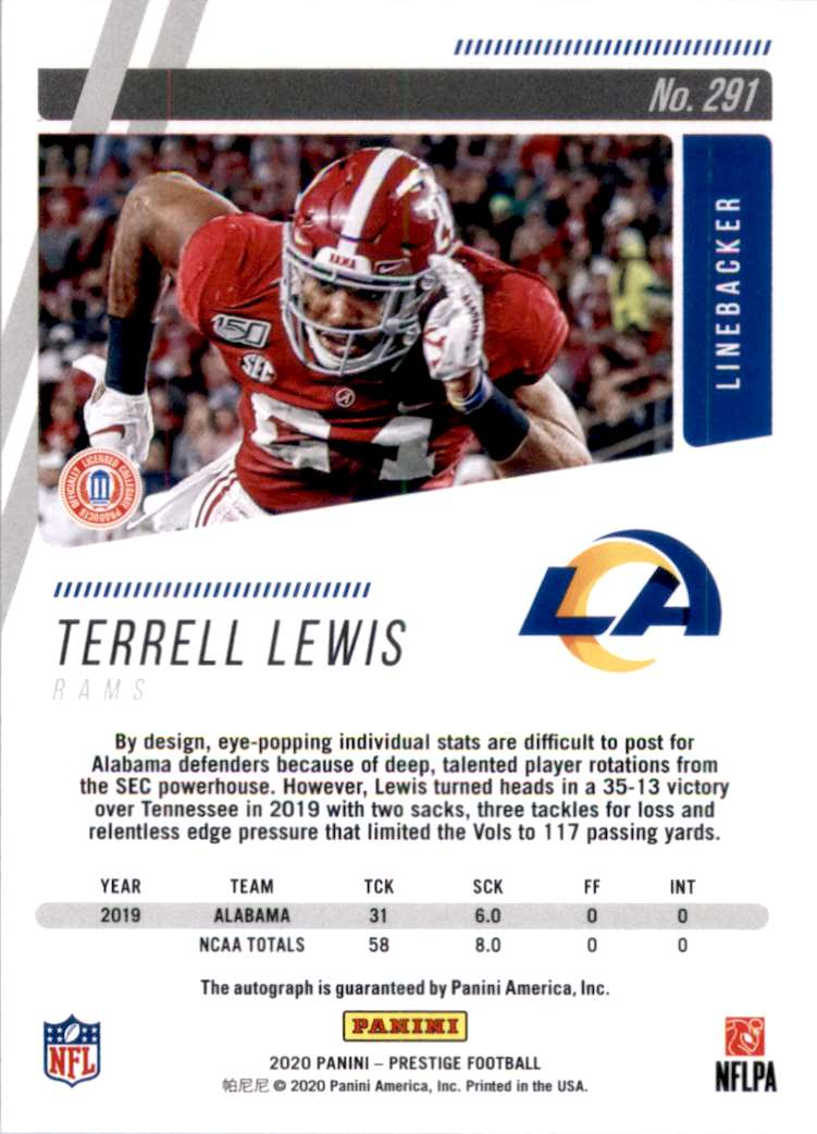 2020 Prestige Xtra Points Signatures Terrell Lewis #291 card back image