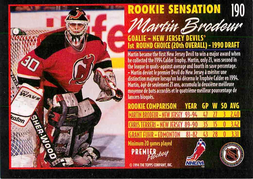 1994 95 Topps Rookie Sensations Martin Brodeur 190 On Kronozio