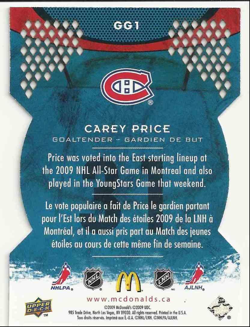 2009-10 Upper Deck McDonald's Goaltending Greats Carey Price #GG1 card back image
