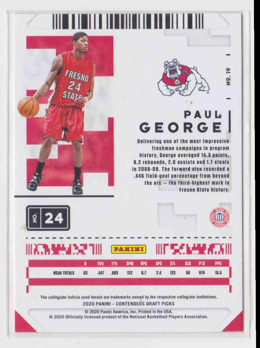 2020-21 Panini Contenders Draft Picks Prospect Ticket Paul George #19 card back image