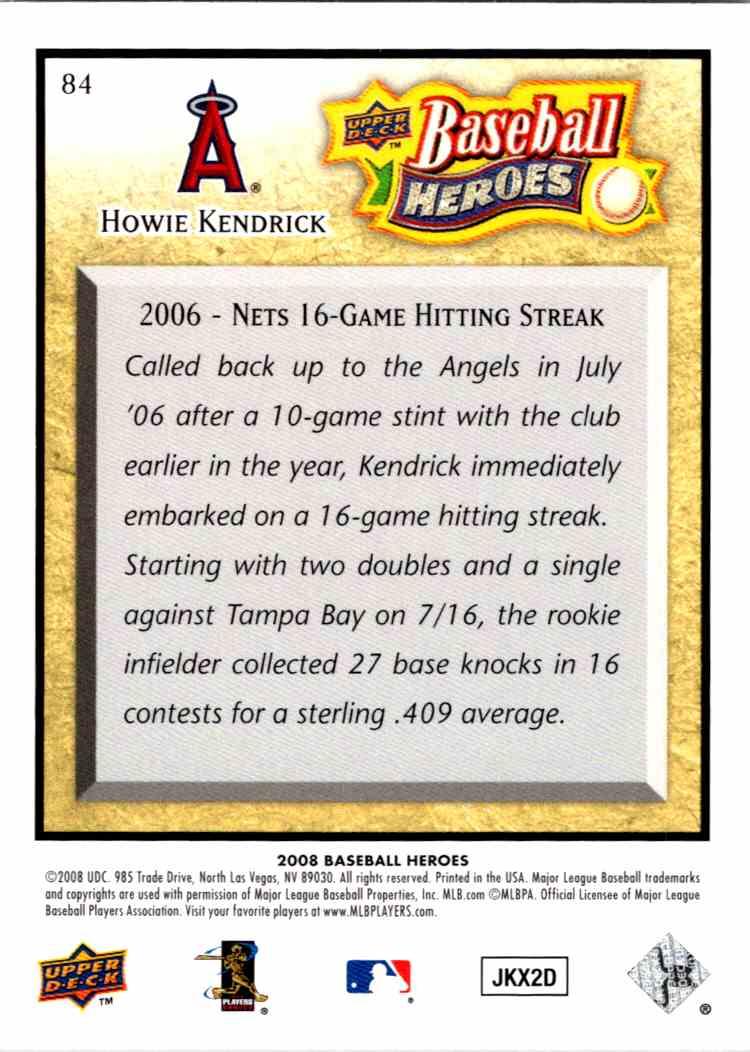 2008 Upper Deck Baseball Heroes Howie Kendrick #84 card back image