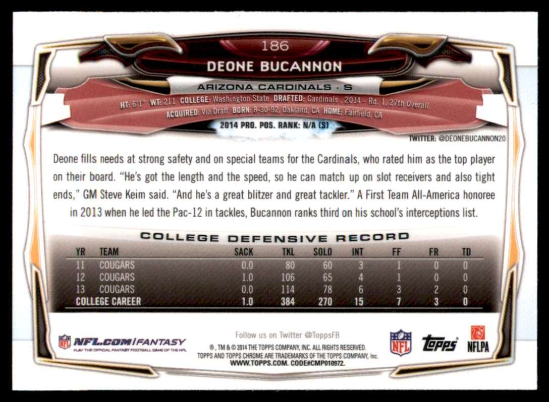 2014 Topps Chrome Deone Bucannon RC #186 card back image