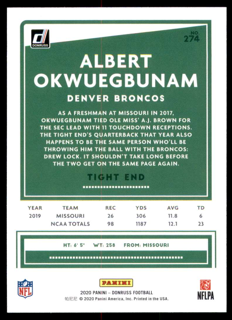2020 Donruss Albert Okwuegbunam #274 card back image