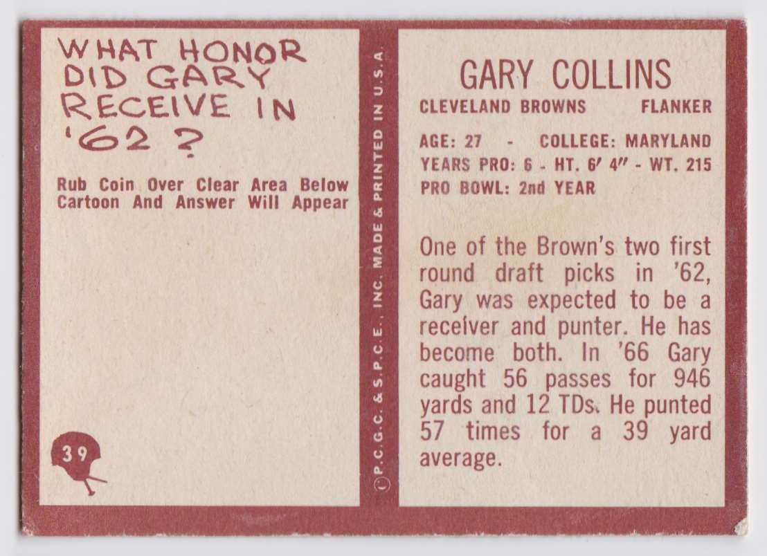 1967 Philadelphia Gary Collins #39 card back image