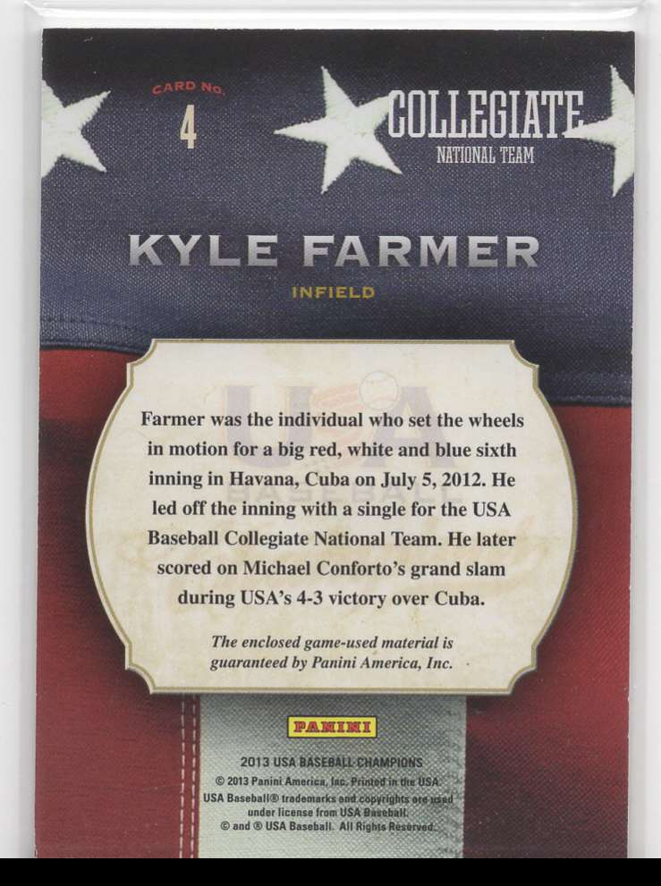 2013 Panini USA Baseball Collegiate Game Gear Kyle Farmer #4 card back image