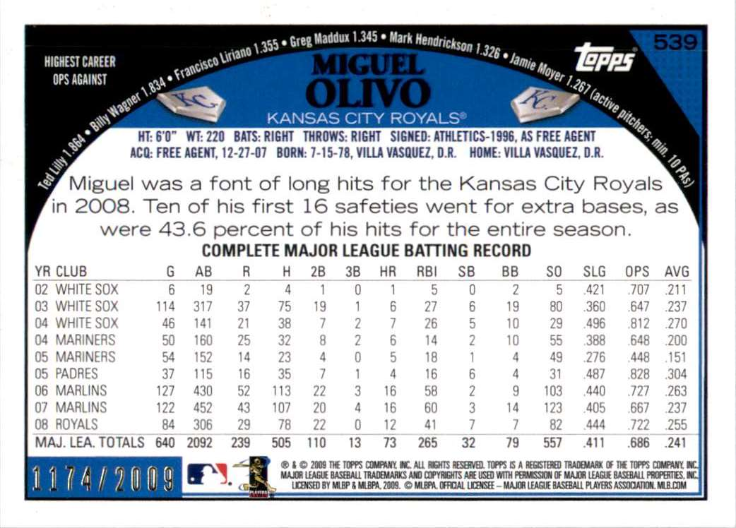 2009 Topps Gold Border Miguel Olivo #539 card back image