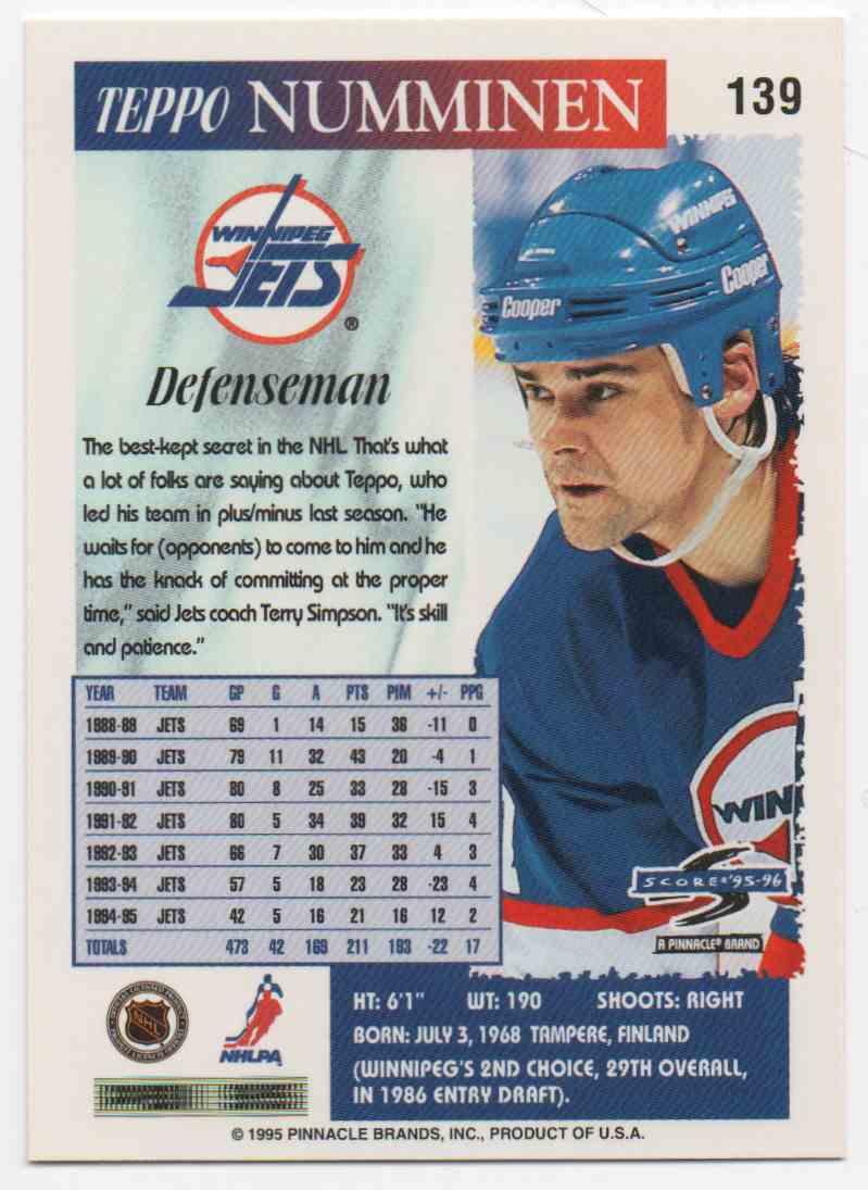 1995-96 Score Teppo Numminen #139 card back image