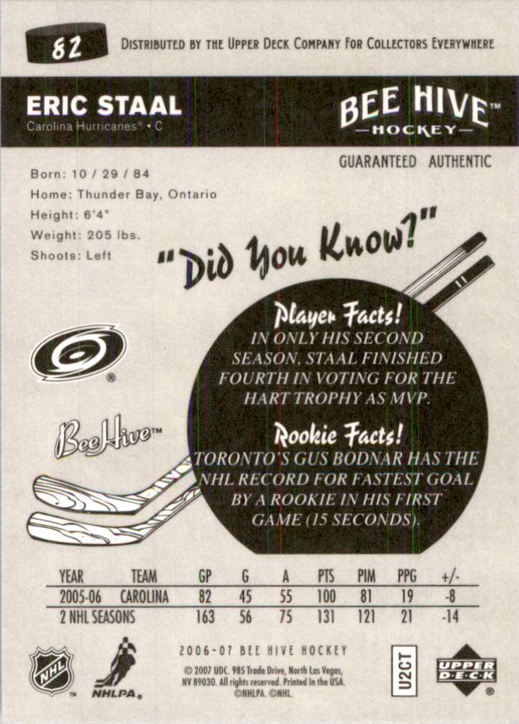 2006-07 Upper Deck Beehive Eric Staal #82 card back image