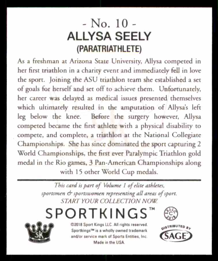 2018 Sportkings Black Back Retail Mini Allysa Seely #10 card back image