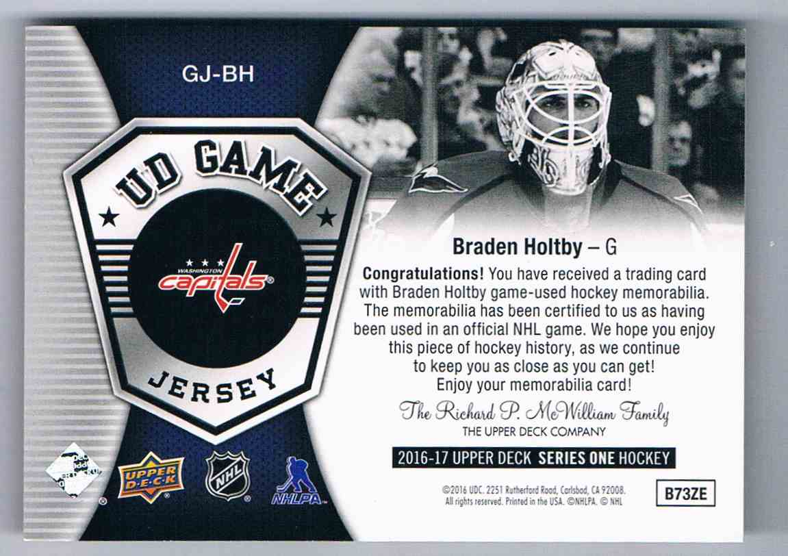 2016-17 Upper Deck UD Game Jersey Braden Holtby #GJ-BH card back image