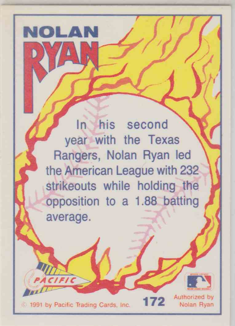 1992 Pacific Nolan Ryan #172 card back image
