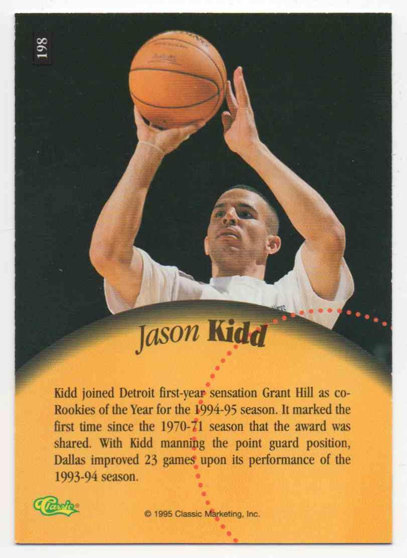 1995-96 Classic 5 Sport Jason Kidd #198 card back image