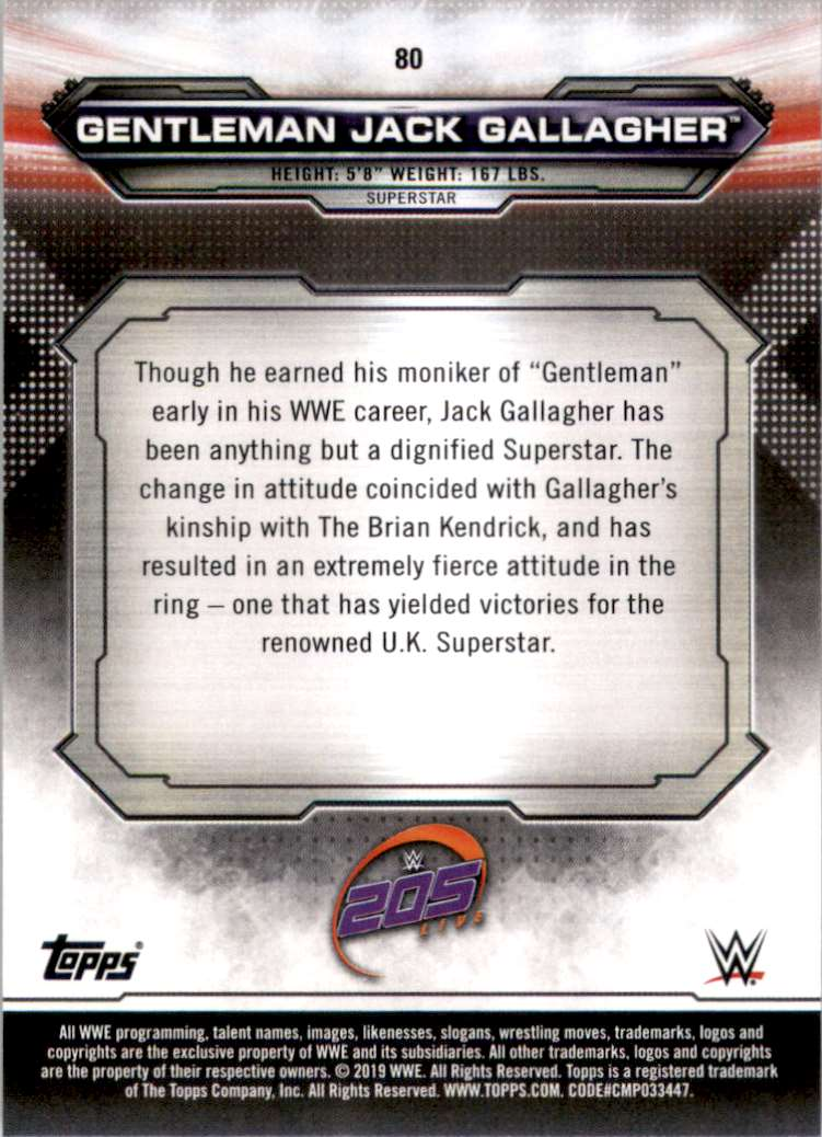 2019 Topps Wwe Raw Gentleman Jack Gallagher #80 card back image