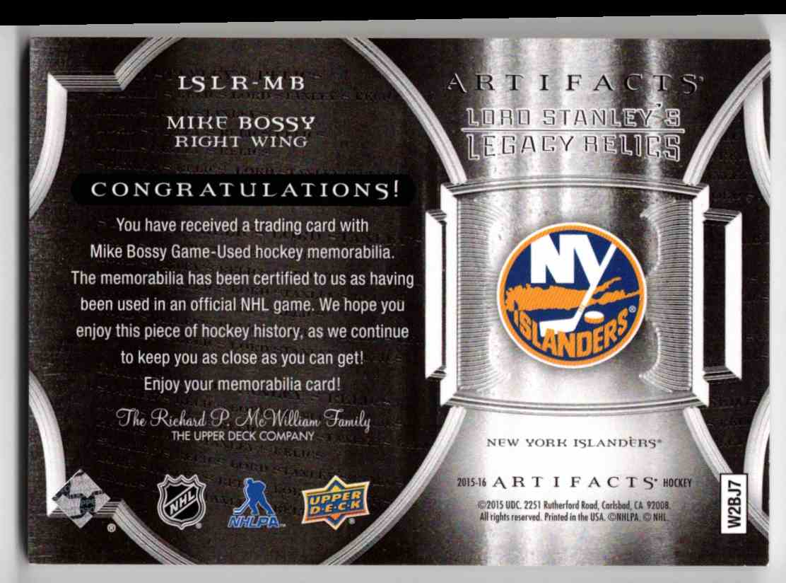 2015-16 Upper Deck Artifacts Lord Stanley's Legacy Relics Gold Mike Bossy #LSLR-MB card back image