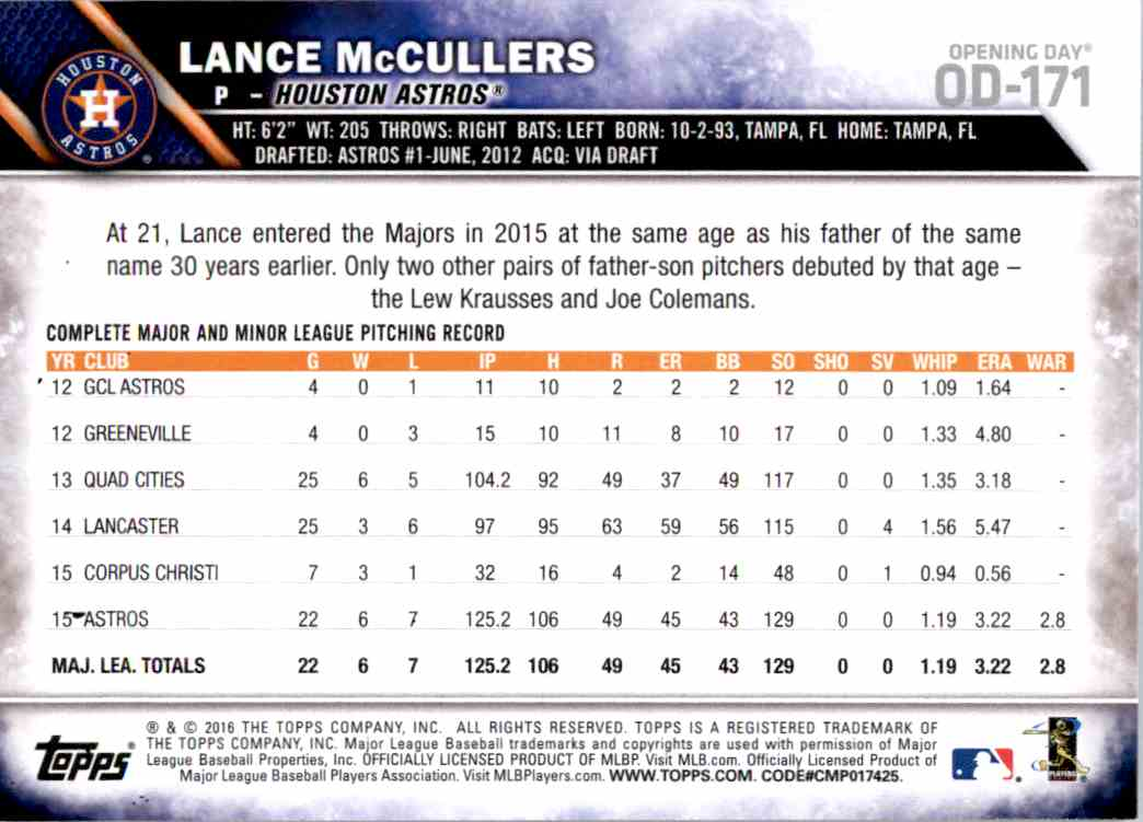 2016 Topps Opening Day Lance McCullers #OD-171 card back image