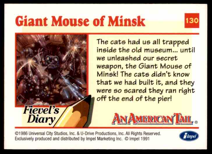 1991 An American Tail Giant Mouse Of Minsk #130 card back image