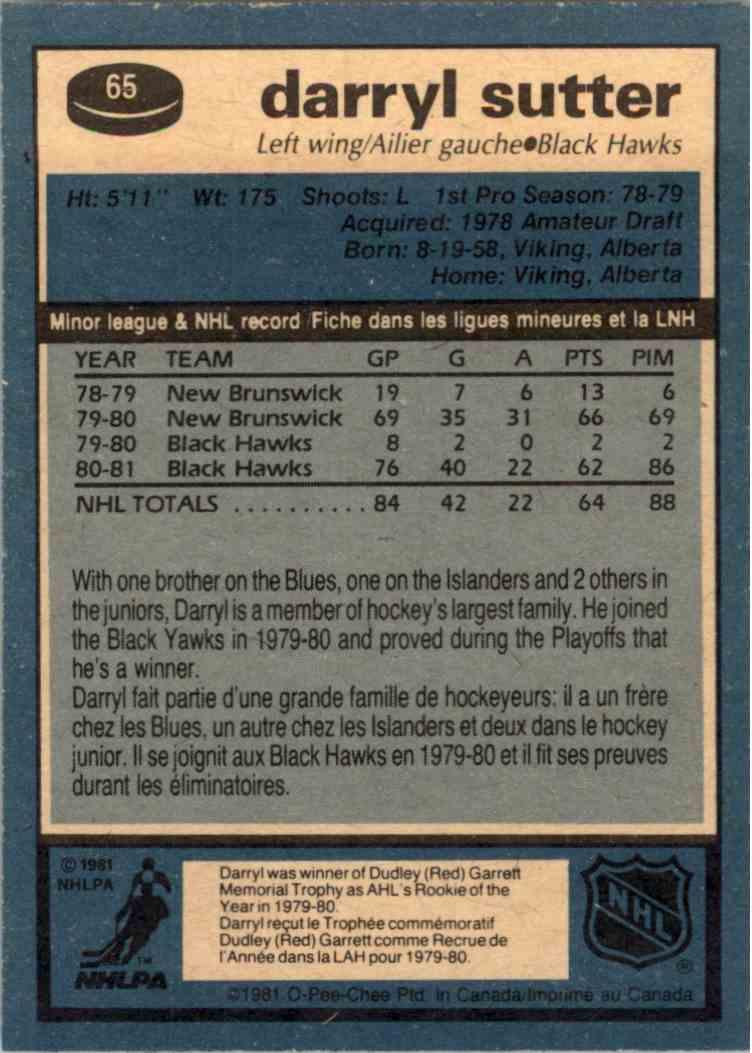 1981-82 O-Pee-Chee Darryl Sutter #65 card back image