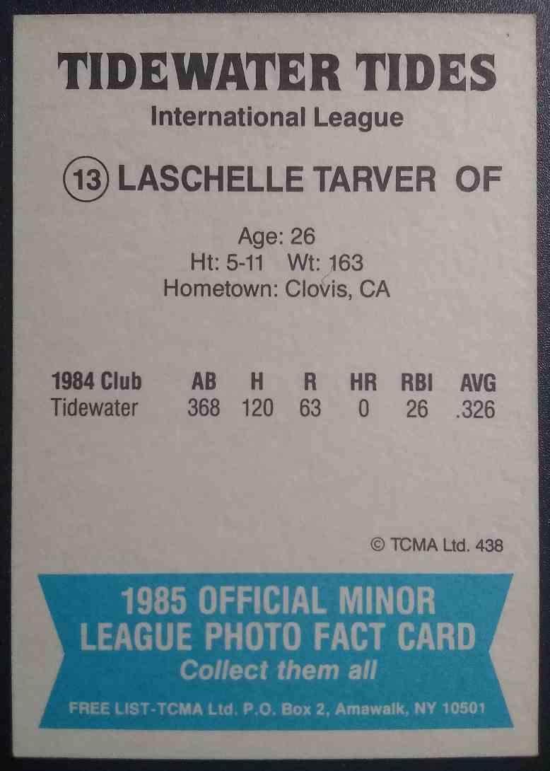 1985 TCMA LaSchelle Tarver #13 card back image