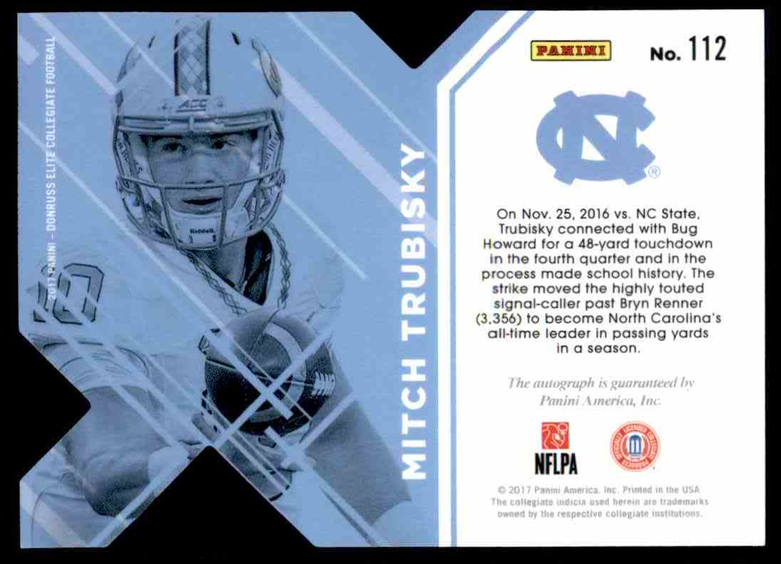 3bbda726e64 Real card back image 2017 Panini Elite Red Die Cut Mitchell Trubisky - North  Carolina Tar Heels Ssp #112