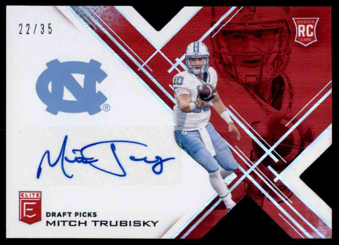 3deb96f1abb 2017 Panini Elite Red Die Cut Mitchell Trubisky - North Carolina Tar Heels  Ssp #112