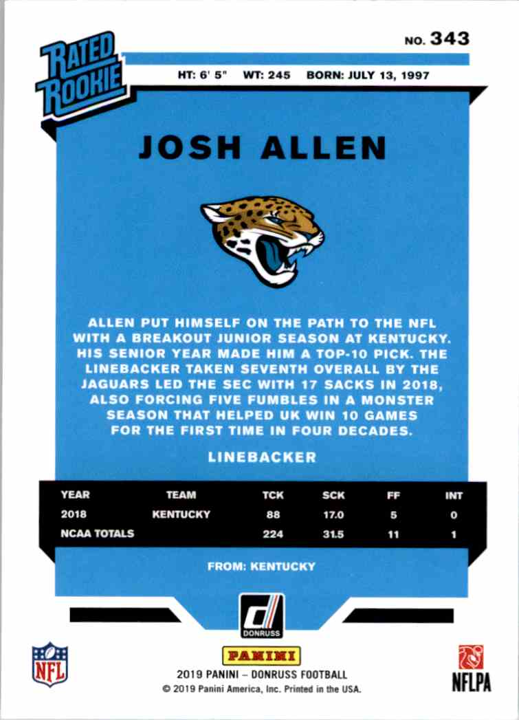 2019 Panini Donruss Rated Rookie Josh Allen #343 card back image