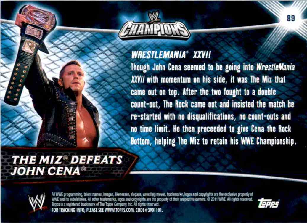 2011 Topps Wwe Champions The Miz Defeats John Cena #89 card back image