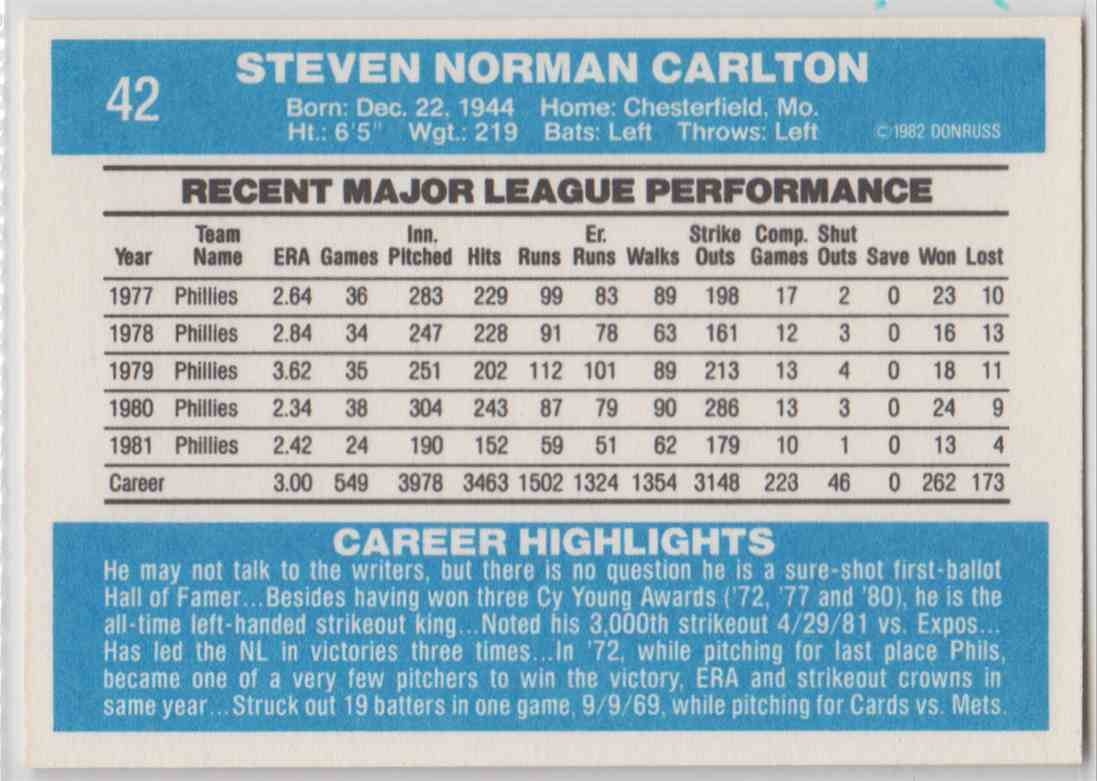1982 Donruss Steve Carlton #42 card back image