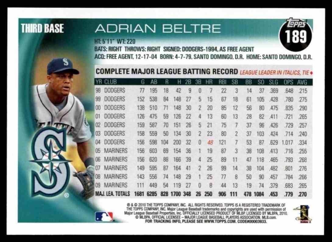 2010 Topps Adrian Beltre #189 card back image