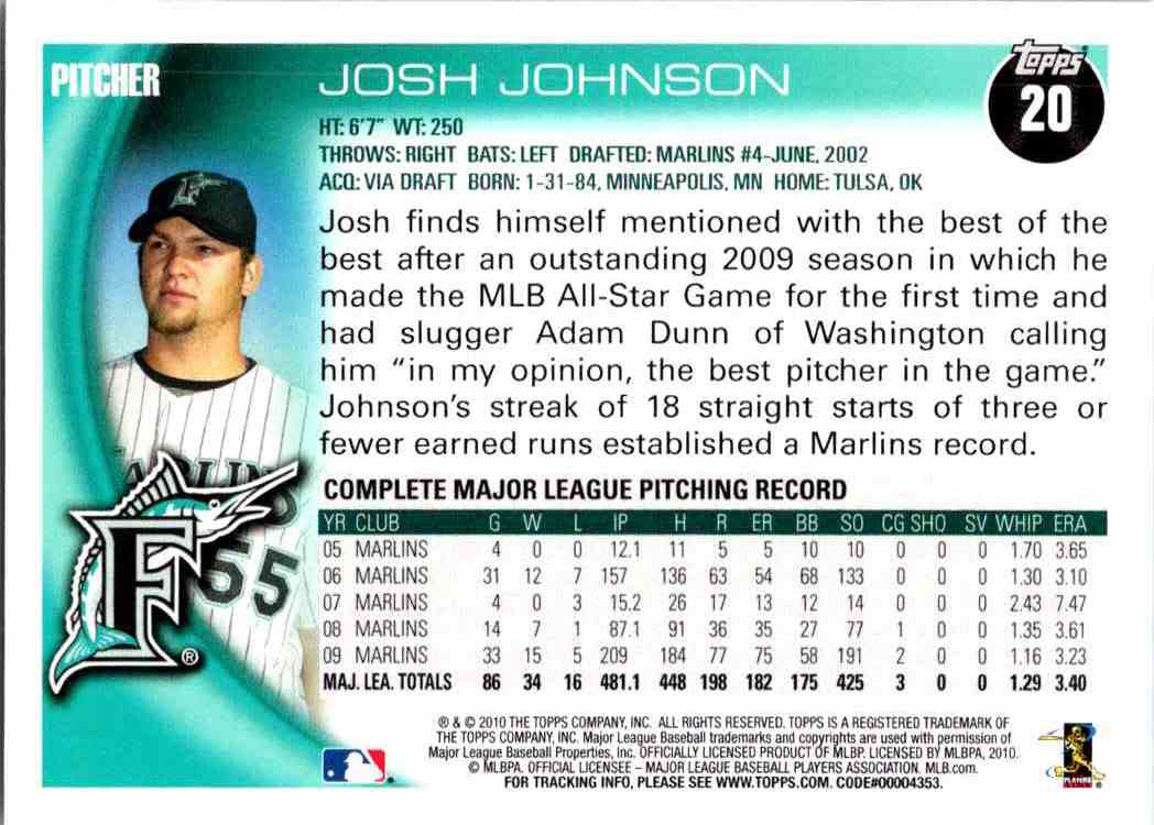 2010 Topps Opening Day Josh Johnson #20 card back image