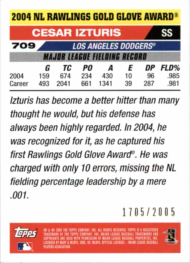 2005 Topps Cesar Izturis #709 card back image