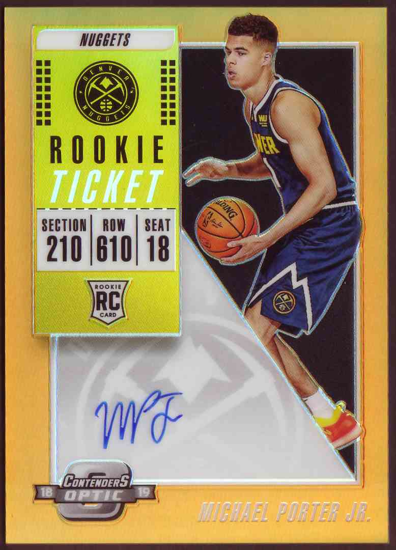 2018-19 Panini Contenders Optic Rookie Ticket Autograph Prizm Orange Michael Porter JR. #120 card front image