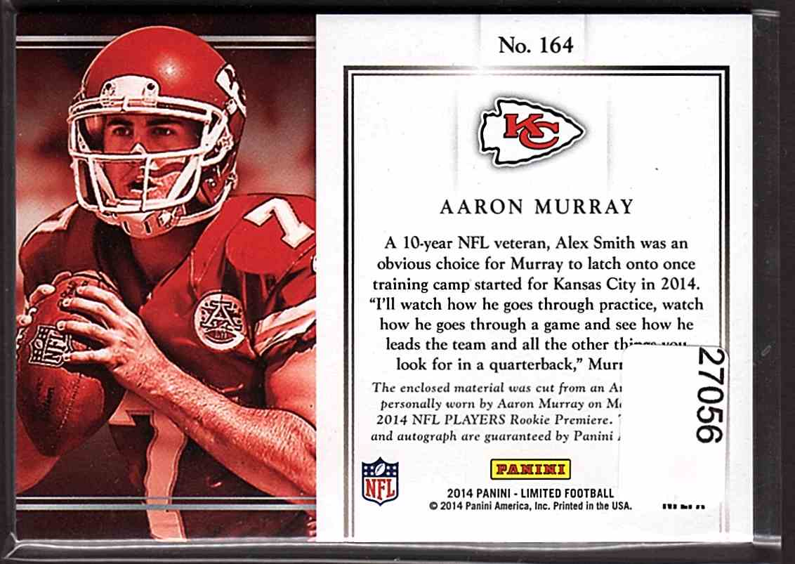 2014 Limited Silver Spotlight Aaron Murray #164 card back image