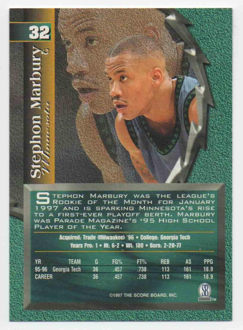 1997-98 Score Board Talkn Sports Stephon Marbury #32 card back image
