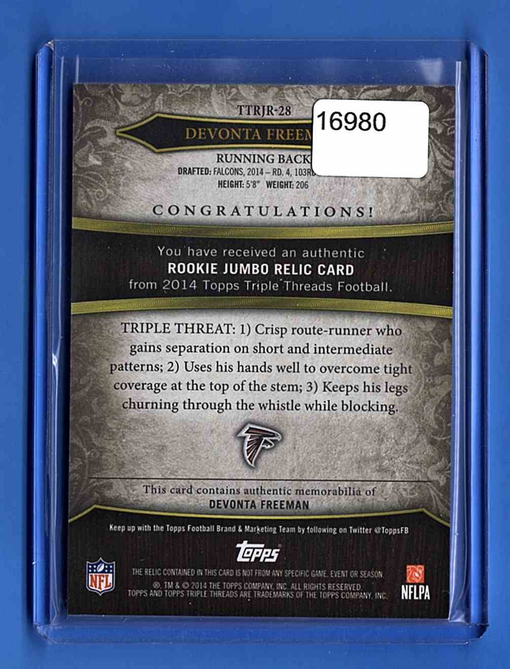 2014 Topps Triple Threads Rookie Jumbo Relics Devonta Freeman #TTRJR-28 card back image